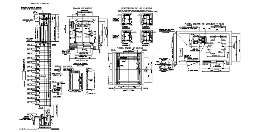 Door elevation, section and installation cad drawing details dwg file