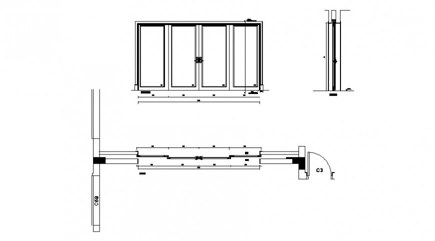 Door elevation and plan 2d view drawing in autocad