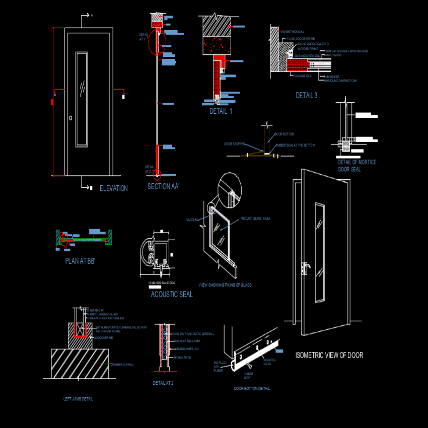 Door elevation and section plan layout file