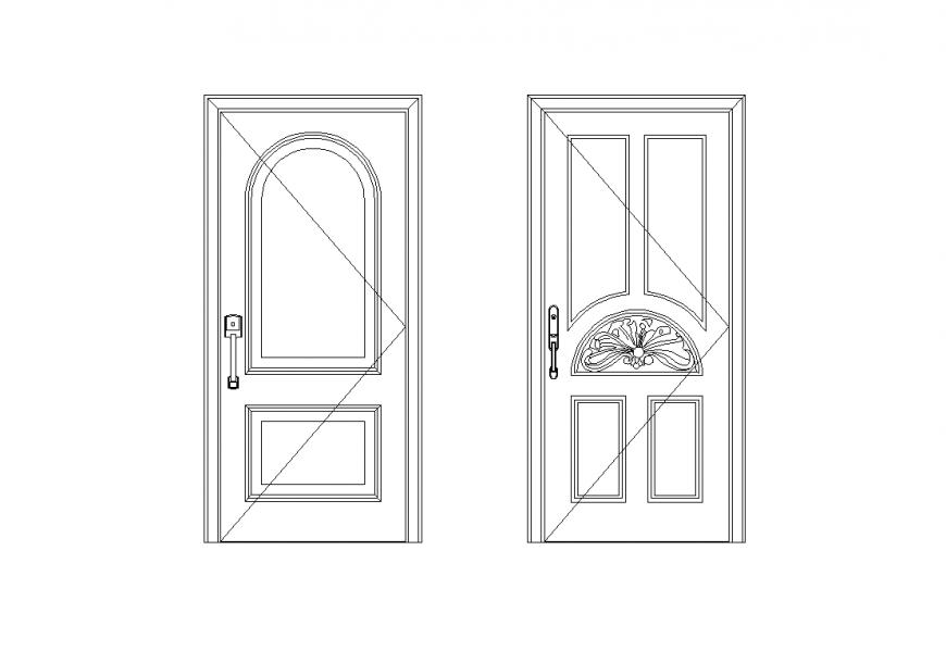 Door elevation design with its block view dwg file