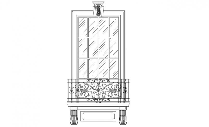 Door elevation with balcony elevation cad drawing details dwg file