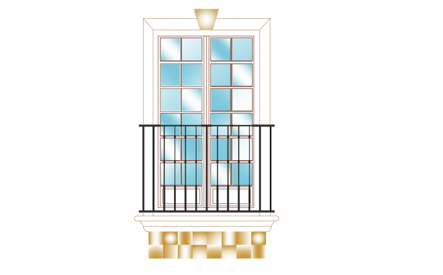 Door elevation with Balcony Railing forged Iron cad drawing details dwg file