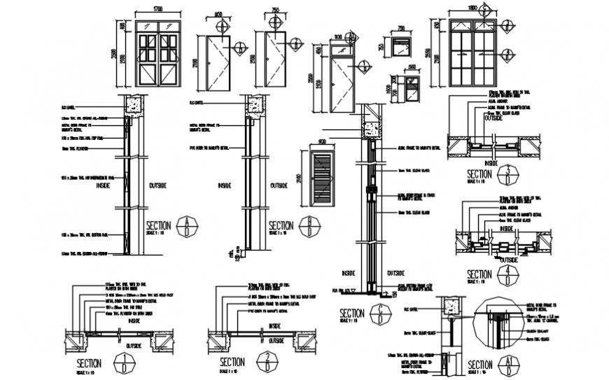 Door elevation with different furniture section view in auto cad file