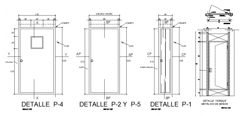 Door front and back elevation and installation cad drawing details dwg file