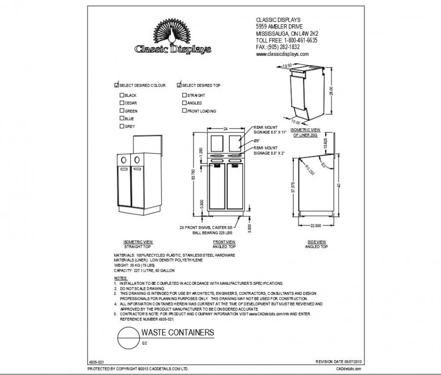 Door installation and body details of double door waste container dwg file