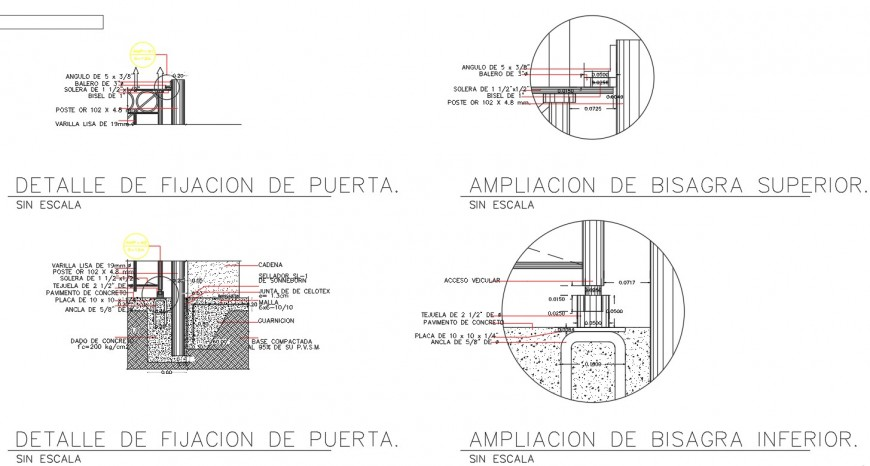Door interior section plan autocad file