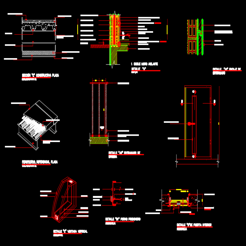 Door plan, elevation and section autocad file