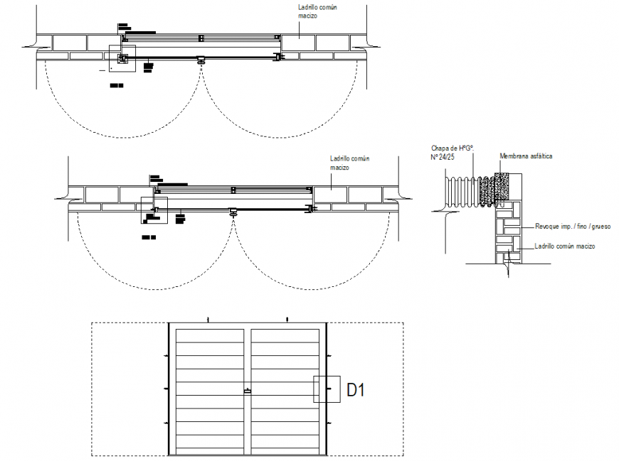 Door plan, elevation and section detail dwg file