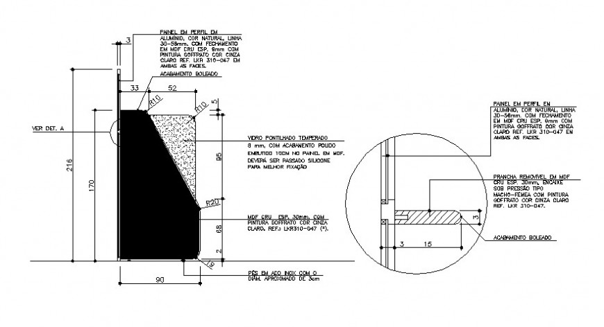 Door section, framing and installation drawing details dwg file