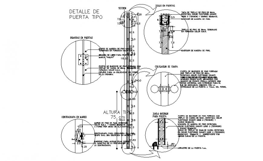 Door section, installation and wood structure details dwg file