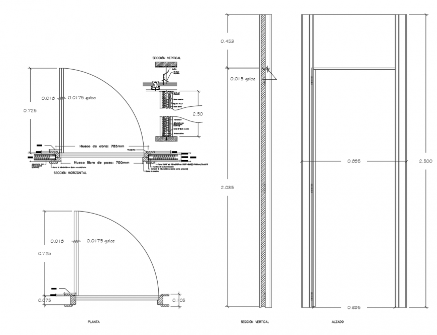 Door section, plan and installation cad drawing details dwg file