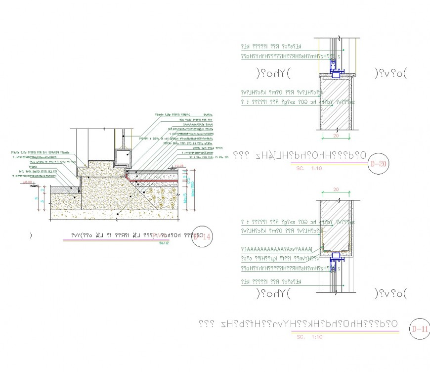 Door section plan dwg file