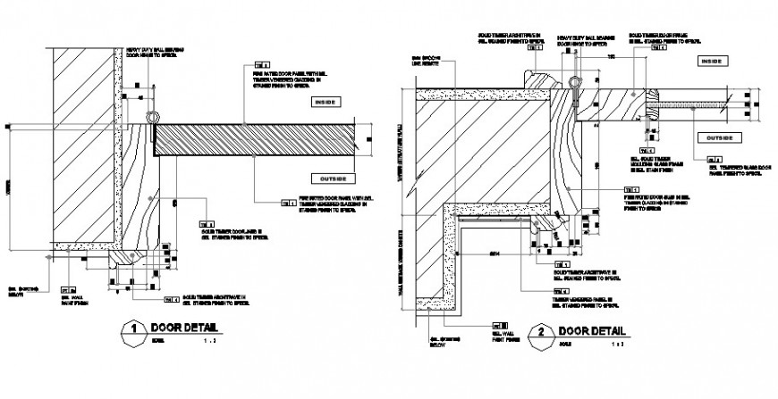 Door sectional detail 2d view CAD block layout file in dwg format