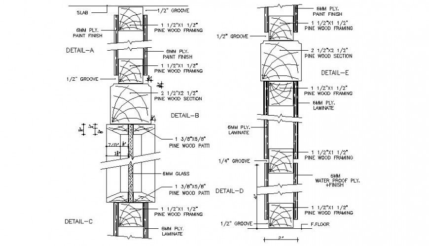 Door sectional details drawings 2d view atocad file
