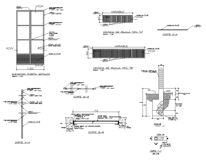 Door structure detail 2d view layout dwg file