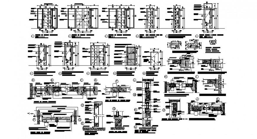Door units blocks detail elevation 2d view autocad file