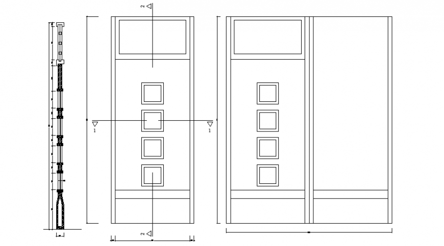Door units drawing details 2d view elevation autocad file