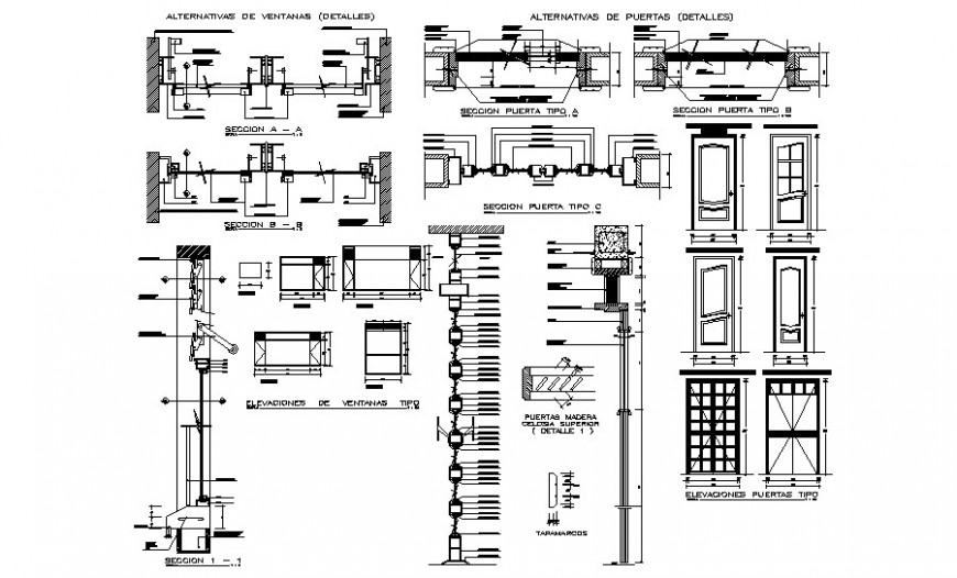 Door window blocks detail sectional drawings 2d view autocad file