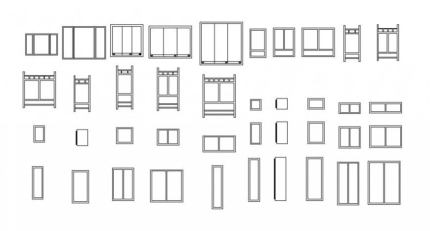 Door window blocks details elevation 2d view drawings in autocad