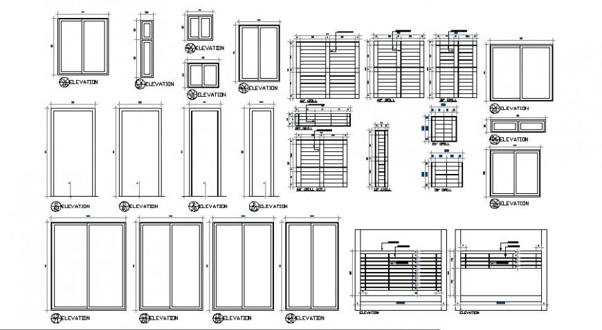 Door window drawings design 2d view autocad file