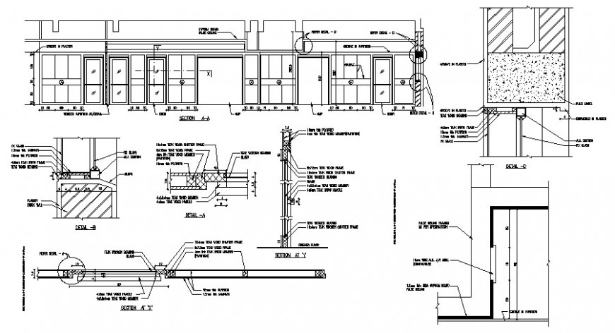 Door window units drawings sectional details in autocad software
