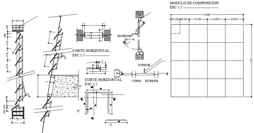 Door window units sectional drawings detail 2d view autocad file