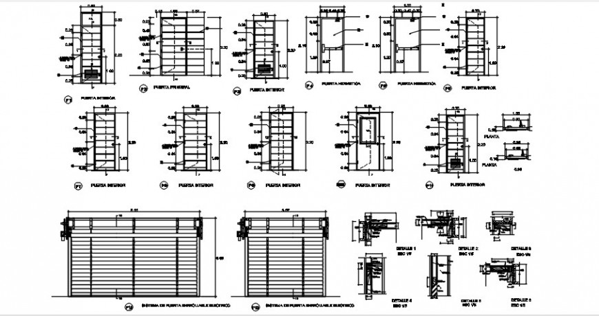 Doors, windows and gate elevations and installation details dwg file