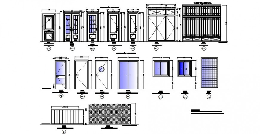 Doors and gate elevation blocks details of residential house dwg file
