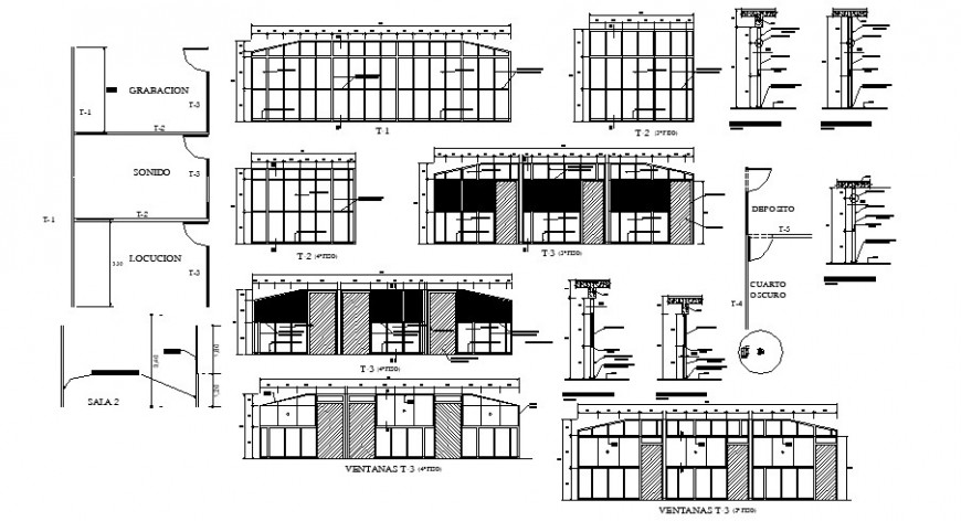 Doors and windows and ventilation installation drawing details of school building dwg file