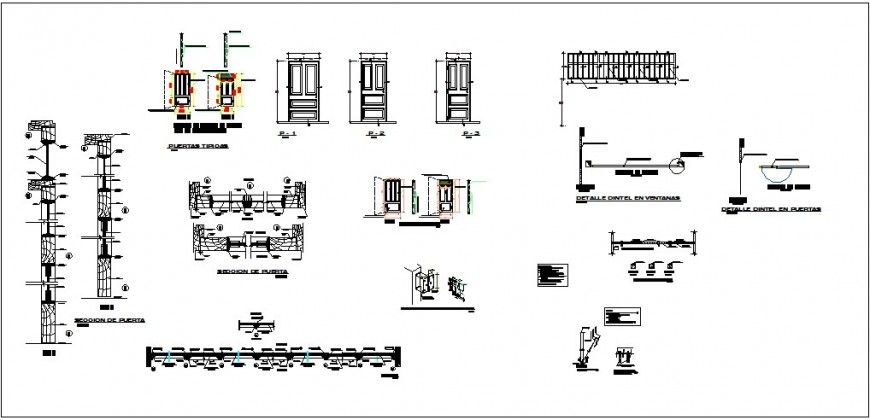 Doors and windows elevation and installation details for college building dwg file