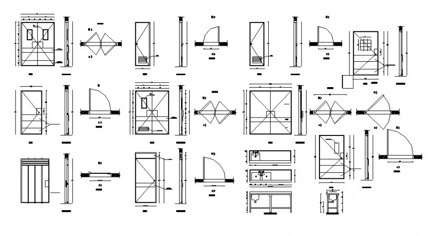 Doors and windows elevation and installation details for house dwg file