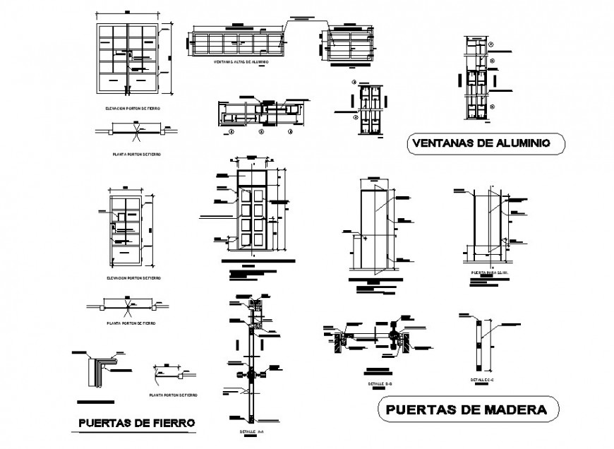 Doors and windows elevations and installation auto-cad drawing details dwg file