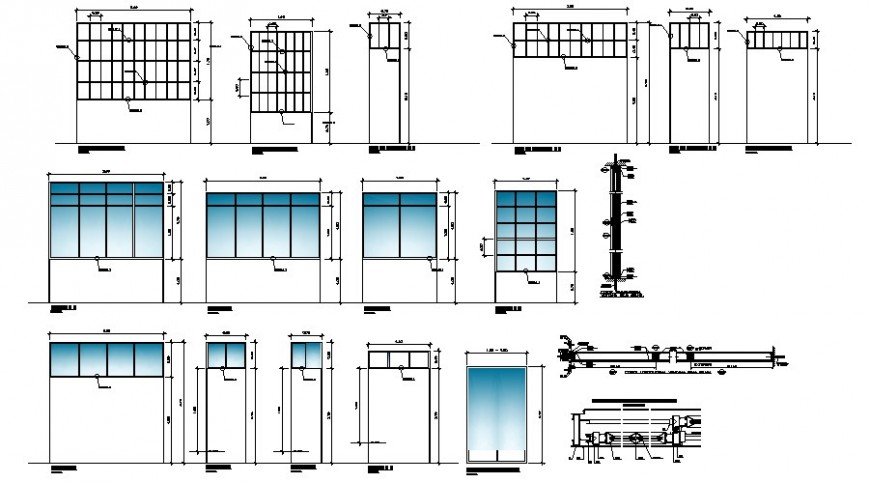 Doors and windows elevations and installation details dwg file