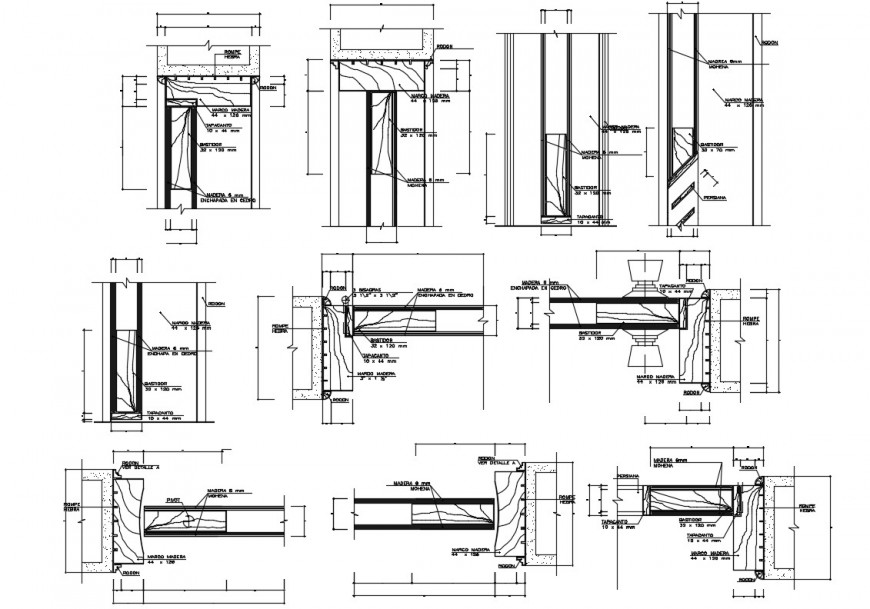 Doors and windows framing and installation details dwg file