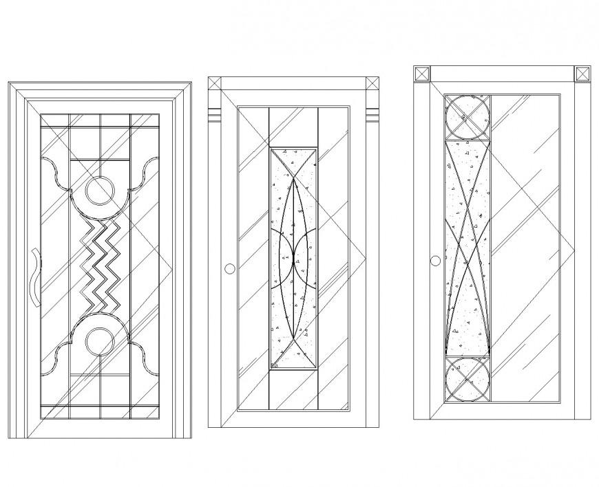 Dots door elevation design autocad file