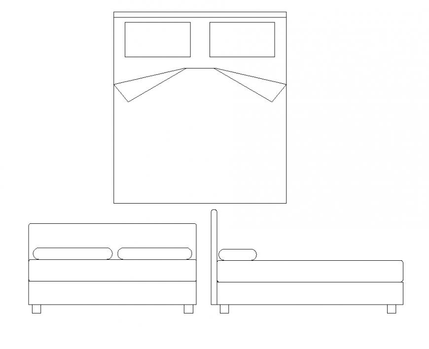 Double bed 2d view detail elevation AutoCAD file
