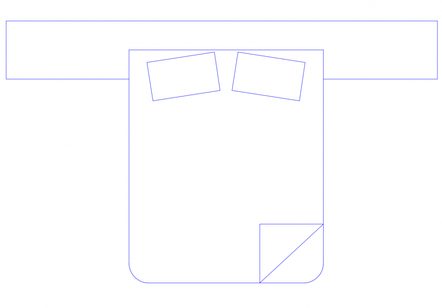 Double bed detail 2d view elevation furniture block autocad file