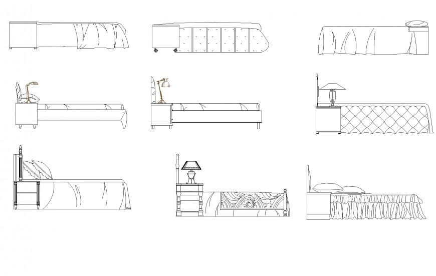 Double bed side elevation plan layout file