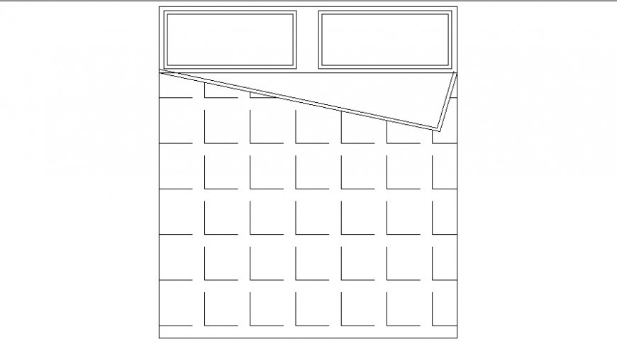 Double bed top view elevation block drawing details dwg file