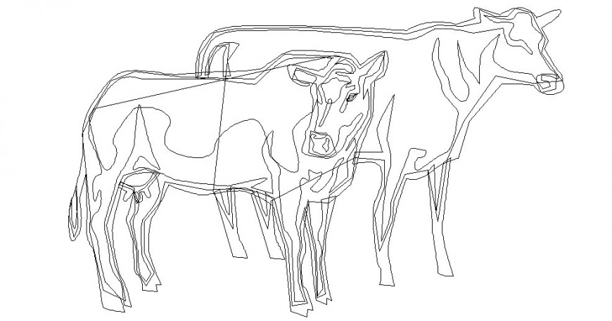 Double cow cad block
