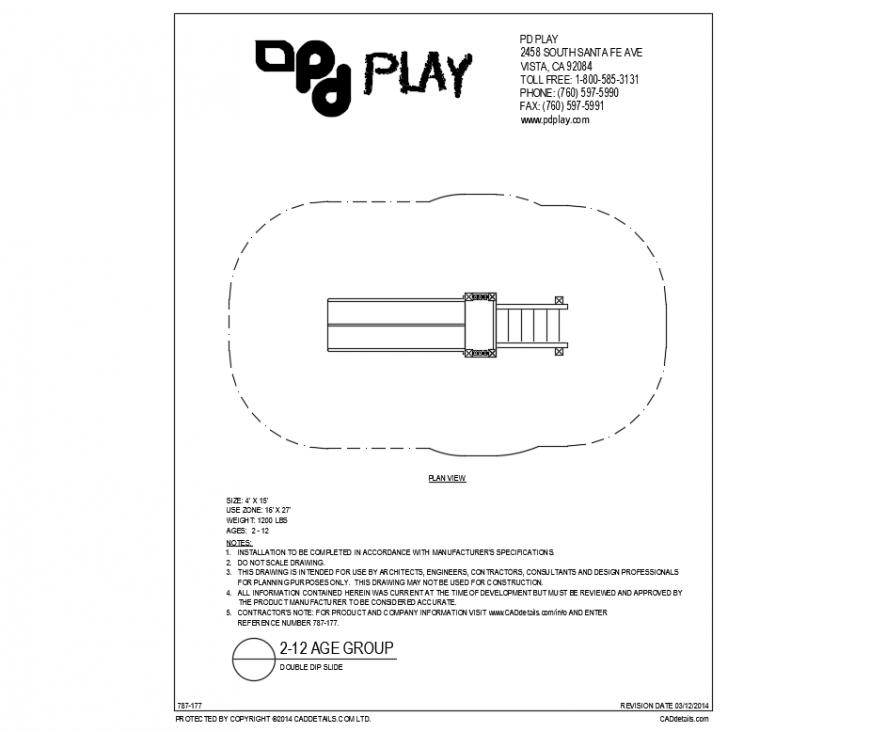 Double dip slide play equipment details of garden dwg file