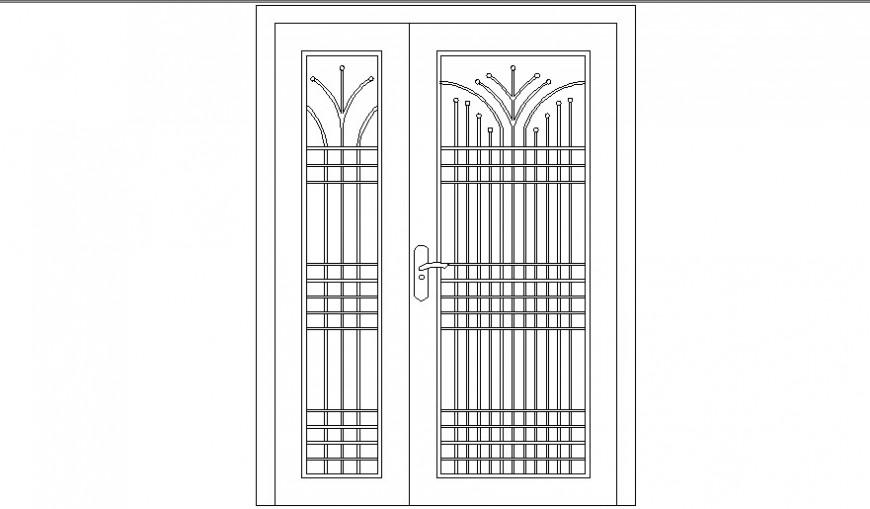 Double door elevation cad drawing details dwg file