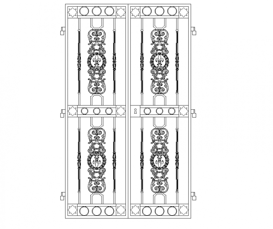 Double door iron grille plan autocad file