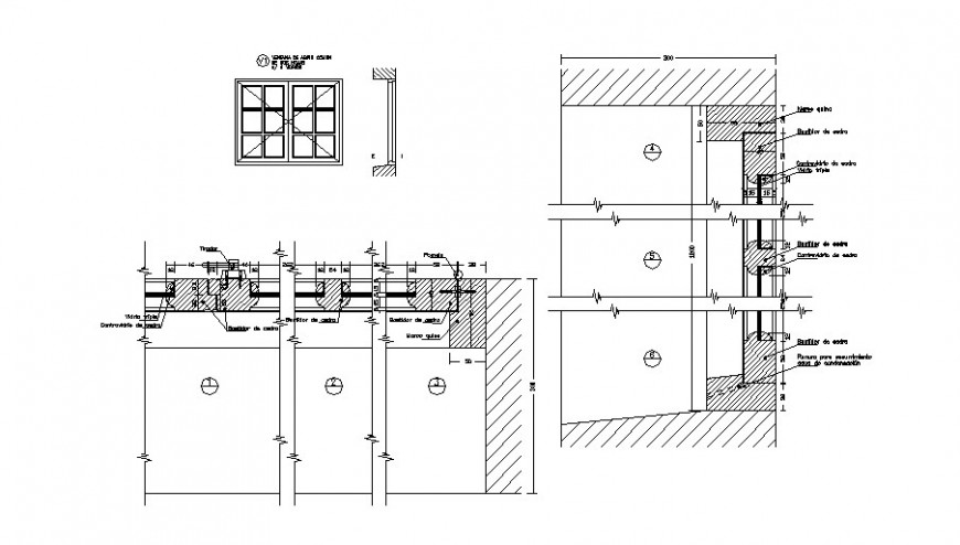 Double door window elevation and installation drawing details dwg file