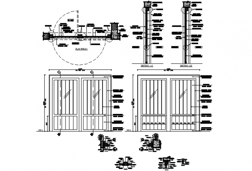 Double door windows elevation, carpentry and installation details dwg file