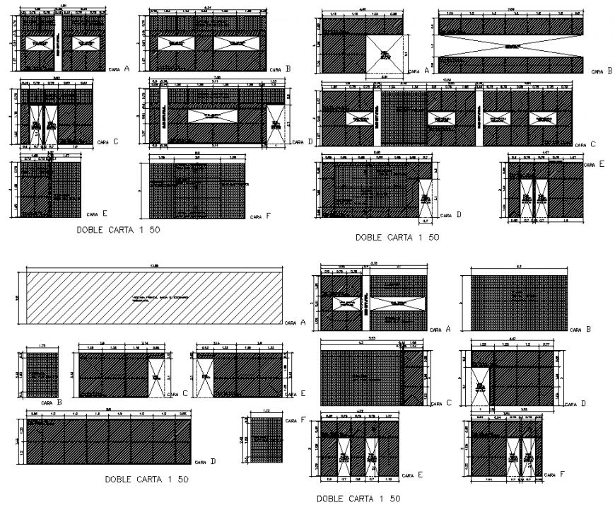 Double letter elevation house plan autocad file
