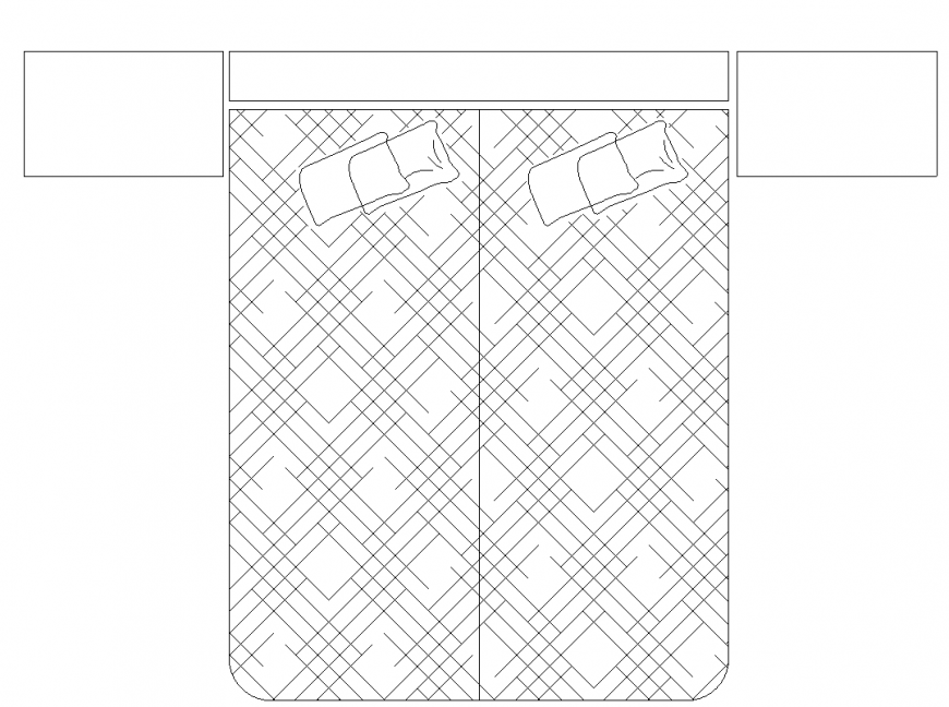 Double partion bed detail elevation layout file