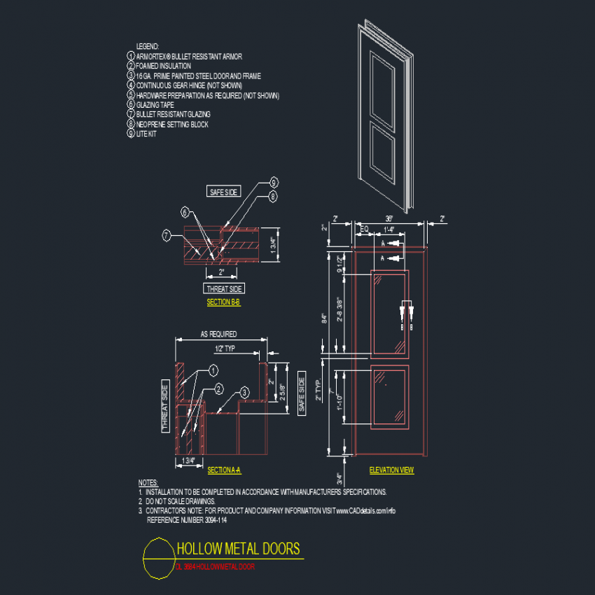 Double vent door elevation and section autoacd file