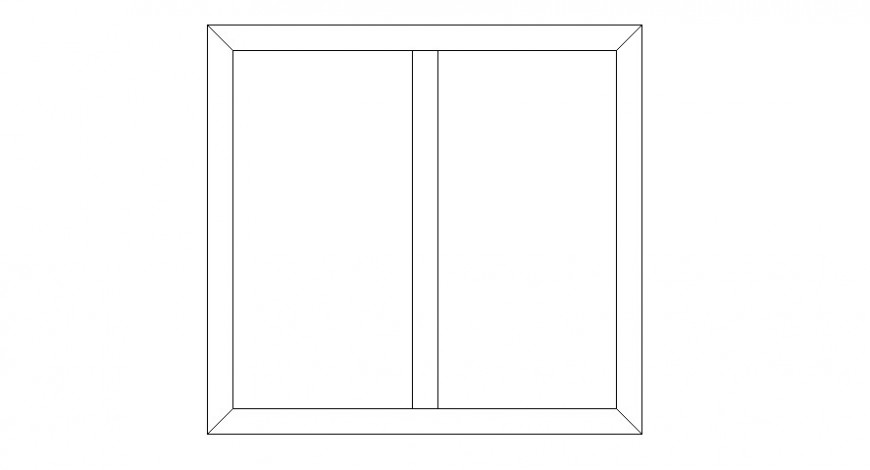 Double window drawings detail 2d view elevation autocad file