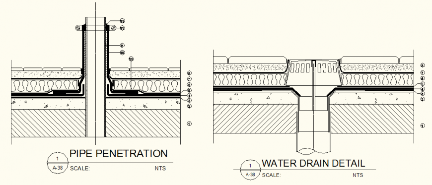 Drainage Pipe Penetration Section detail elevation layout file